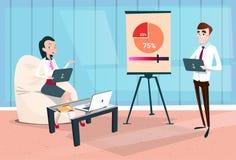Ομάδα επιχειρηματιών με την οικονομική γραφική παράσταση παρουσίασης 'brainstorming' διασκέψεων κατάρτισης σεμιναρίου διαγραμμάτω Στοκ Φωτογραφίες