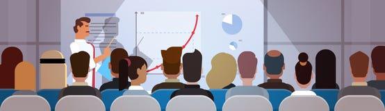 Ομάδα επιχειρηματιών στο διάγραμμα κτυπήματος εκπαιδευτικών μαθημάτων συνεδρίασης των διασκέψεων με τη γραφική παράσταση Στοκ Φωτογραφία