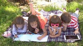 Ομάδα ευτυχών παιδιών που παίζουν υπαίθρια στο θερινό πάρκο κίνηση αργή απόθεμα βίντεο