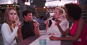 Ομάδα θηλυκών φίλων που χαλαρώνουν μαζί στο φραγμό στεγών απόθεμα βίντεο