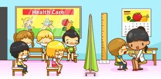 Ομάδα διαγνώσεων γιατρών ή παιδιάτρων παθολόγων κινούμενων σχεδίων είδους ελεύθερη απεικόνιση δικαιώματος