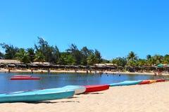 Ομάδα καγιάκ σε μια παραλία - RN, Βραζιλία Στοκ φωτογραφία με δικαίωμα ελεύθερης χρήσης