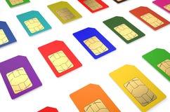 Ομάδα καρτών χρώματος SIM Στοκ Εικόνες