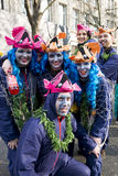 Ομάδα με τα κοστούμια ψαριών σε καρναβάλι σε Duesseldor Στοκ Εικόνες