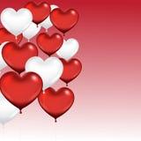 Ομάδα μπαλονιών καρδιών η αγάπη ανασκόπησης κόκκινη αυξήθηκε λευκό συμβόλων Στοκ Φωτογραφίες