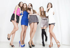 Ομάδα νέας γυναίκας στοκ εικόνες