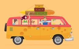 Ομάδα νέων που ταξιδεύουν στο εκλεκτής ποιότητας τροχόσπιτο van concept λεωφορείων διανυσματική απεικόνιση