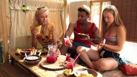Ομάδα νέων φίλων που απολαμβάνουν το γεύμα στο σπίτι δέντρων απόθεμα βίντεο