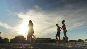 Ομάδα νέων χαρούμενων φίλων που παίζουν την πετοσφαίριση στην αμμώδη παραλία απόθεμα βίντεο