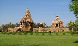 Ομάδα ναών Khajuraho μνημείων στην Ινδία στοκ εικόνα