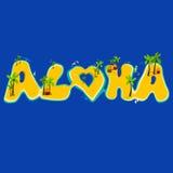 Ομάδα νησιών που δημιουργεί τη λέξη aloha Εγγραφή χεριών Aloha με τα εξωτικά νησιά Στοκ Εικόνες