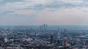 Ομάδα ουρανοξυστών πόλεων της Μόσχας από υψηλό ανωτέρω στοκ εικόνες