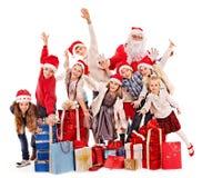 Ομάδα παιδιών με Άγιο Βασίλη. Στοκ εικόνα με δικαίωμα ελεύθερης χρήσης
