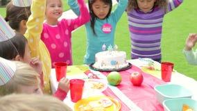 Ομάδα παιδιών που έχουν την υπαίθρια γιορτή γενεθλίων απόθεμα βίντεο