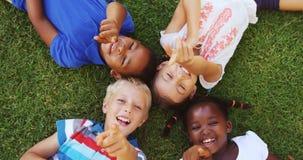 Ομάδα παιδιών που βρίσκονται στη χλόη και που έχουν τη διασκέδαση φιλμ μικρού μήκους