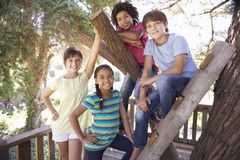Ομάδα παιδιών που κρεμούν έξω σε Treehouse από κοινού Στοκ Φωτογραφία