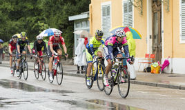 Ομάδα ποδηλατών που οδηγούν στη βροχή Στοκ φωτογραφία με δικαίωμα ελεύθερης χρήσης