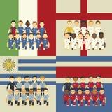 Ομάδα ποδοσφαίρου και σημαία, διανυσματική απεικόνιση