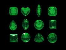 Ομάδα πράσινης μορφής tourmaline με το ψαλίδισμα της πορείας απεικόνιση αποθεμάτων