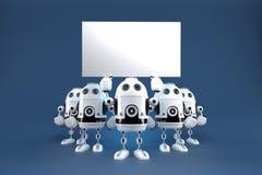 Ομάδα ρομπότ με τον κενό πίνακα Περιέχει το μονοπάτι ψαλιδίσματος απεικόνιση αποθεμάτων
