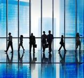 Ομάδα σκιαγραφιών αστικής έννοιας σκηνής επιχειρηματιών Στοκ Εικόνες