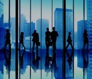 Ομάδα σκιαγραφιών αστικής έννοιας σκηνής επιχειρηματιών Στοκ εικόνα με δικαίωμα ελεύθερης χρήσης