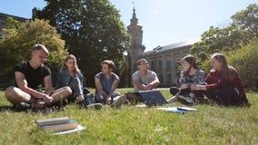 Ομάδα σπουδαστών που κουβεντιάζουν στο χορτοτάπητα πανεπιστημιουπόλεων απόθεμα βίντεο