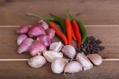 Ομάδα ταϊλανδικού σκόρδου καρυκευμάτων τροφίμων, κρεμμύδια, τσίλι, μαύρο πιπέρι Στοκ Φωτογραφίες