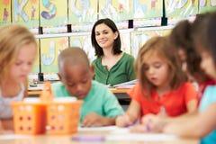 Ομάδα του δημοτικού σχολείου παιδιών ηλικίας στην κατηγορία τέχνης με το δάσκαλο Στοκ Εικόνα