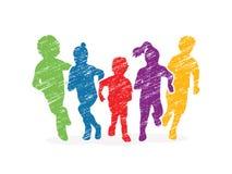 Ομάδα τρεξίματος παιδιών ελεύθερη απεικόνιση δικαιώματος