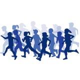 Ομάδα τρεξίματος σκιαγραφιών παιδιών διανυσματική απεικόνιση
