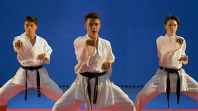 Ομάδα τριών σπουδαστών που εκπαιδεύουν και ασκούν karate τις διατρήσεις στο dojo απόθεμα βίντεο