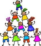 Ομάδα των ευτυχών παιδιών απεικόνιση αποθεμάτων