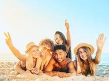 Ομάδα φίλων που έχουν τη διασκέδαση στην παραλία στοκ φωτογραφίες με δικαίωμα ελεύθερης χρήσης