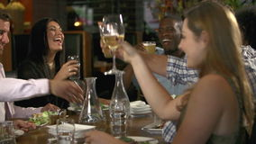 Ομάδα φίλων που απολαμβάνουν το γεύμα στο εστιατόριο απόθεμα βίντεο