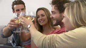 Ομάδα φίλων που απολαμβάνουν το ποτήρι του κρασιού στο σπίτι απόθεμα βίντεο