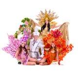 Ομάδα χορευτών που φορά το χορό κοστουμιών καρναβαλιού Στοκ φωτογραφίες με δικαίωμα ελεύθερης χρήσης
