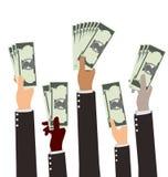Ομάδα χρημάτων εκμετάλλευσης χεριών Busibess ποικιλομορφίας ελεύθερη απεικόνιση δικαιώματος