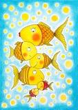 Ομάδα χρυσών ψαριών, σχέδιο του παιδιού, ζωγραφική watercolor Στοκ Εικόνα