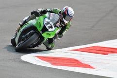 Ομάδα Kawasaki Superbike που συναγωνίζεται το Joan Lascorz Στοκ Εικόνες