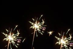 Ομάδα sparklers που απομονώνεται Διακόσμηση Παραμονής Χριστουγέννων Στοκ Εικόνες
