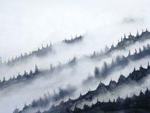 Ομίχλη βουνών τοπίων μελανιού Watercolor παραδοσιακό ασιατικό ύφος τέχνης της Ασίας μελανιού χέρι που επισύρεται την προσοχή σε χ διανυσματική απεικόνιση