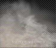 Ομίχλη και καπνός που απομονώνονται σε διαφανή στοκ φωτογραφία