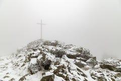 Ομίχλη και πάγος στη σύνοδο κορυφής μεγάλου Arber Στοκ Εικόνες