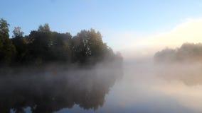 Ομίχλη και ήλιος στον ποταμό απόθεμα βίντεο