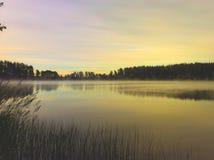 Ομίχλη πρωινού στη λίμνη Στοκ Εικόνα