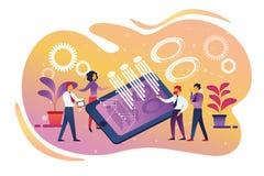 Ομαδική εργασία επιχείρησης, συνεργασία, έξυπνη τεχνολογία ελεύθερη απεικόνιση δικαιώματος