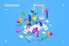 Ομαδική εργασία των ανθρώπων στην εύρεση της επιχειρησιακής λύσης διανυσματική απεικόνιση