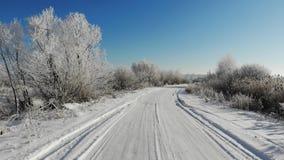Ομαλή πτήση μπροστά επάνω από έναν χιονώδη δρόμο Τα δέντρα και οι θάμνοι καλύπτονται με το χιόνι, χειμερινή ομορφιά απόθεμα βίντεο