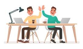 Ομαδική εργασία Οι εργαζόμενοι γραφείων δίνουν πέντε ο ένας στον άλλο ενάντια ως δολάρια έννοιας δολώματος ανασκόπησης γκρίζα κρε διανυσματική απεικόνιση